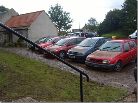 Flood damaged cars at Freuchie Mill - August 2008