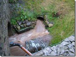 Freuchie Mill culvert outlet - 1 hour still to go to peak flow